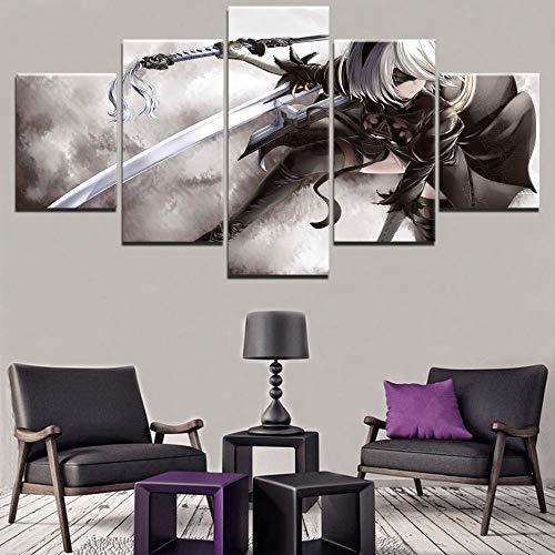 Hauptdekoration Leinwand 5 Stück Spiel Nier Automaten Yorha Druckt Poster Gemälde Modulare Kunst Kinderzimmer Frame100X50Cm Ungerahmt