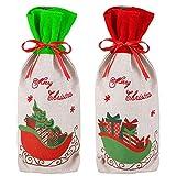 Bolsas para botellas de vino navideñas,paquete de 2 envolturas impresas para botellas de vino de feliz Navidad,35x16 cm,envolturas para botellas de vino,bolsas de regalo para la decoración