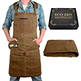 Woodworking Shop Apron for Men - Carpenter Apron for Work Shop, Perfect Woodworking Gift, Heavy Duty Waxed Canvas Workshop Tool Aprons, Fully Adjustable to S-XXXL