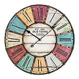 TFA Dostmann Vintage XXL Design-Wanduhr, mit Metallrahmen, römischem Zifferblatt im Vintage-Look, 60 cm Durchmesser, mehrfarbig, 60.3021