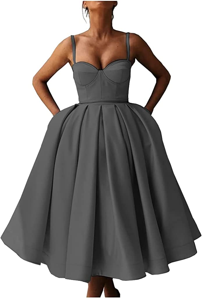 Promworld Women's Sweetheart Spaghetti Straps Short Prom Dresses Homecoming Dresses with Pockets with Pockets