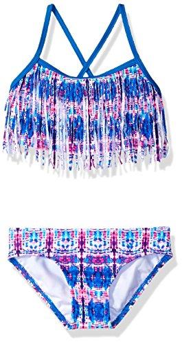 Kanu Surf Girls' Little Kelly Beach Sport Fringe 2-Piece Bikini Swimsuit, Kayla Pink/Blue Tie-Dye, 4