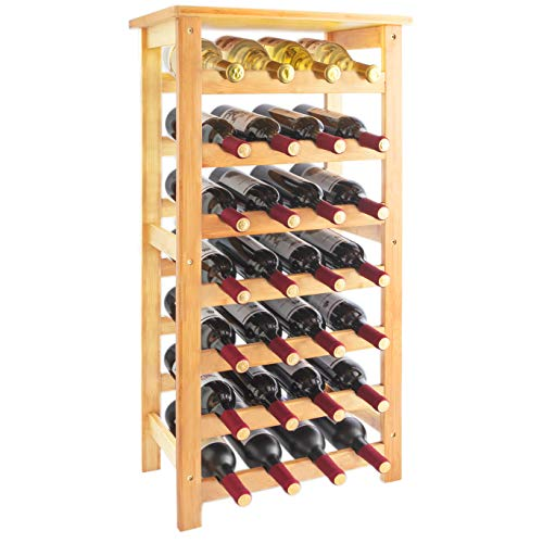 URFORESTIC 28-Bottle Wine Rack Made of Natural Bamboo Wood with Table Top 7-Tier Free Standing Storage Shelves Wobble-Free for Kitchen Bar Dining or Living Room (Natural)