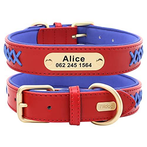 Didog - Collare per cani in pelle personalizzato, collare per animali con targhetta in ottone personalizzata con imbottitura intrecciata e morbida