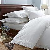 Parure de lit - housse de couette/taie d'oreiller - luxueux - broderies - blanc - lit 2 personnes (UK)