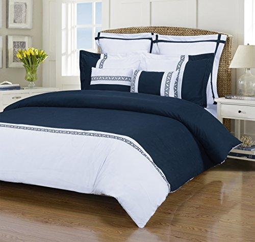 Emma 7-Piece, Wrinkle Resistant, King/California King Duvet Cover Set, White/Navy Blue