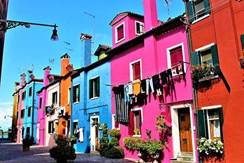 Wall Art Print on Canvas(32x21 inches)- Venice Italy Burano Island Beautifully Travel