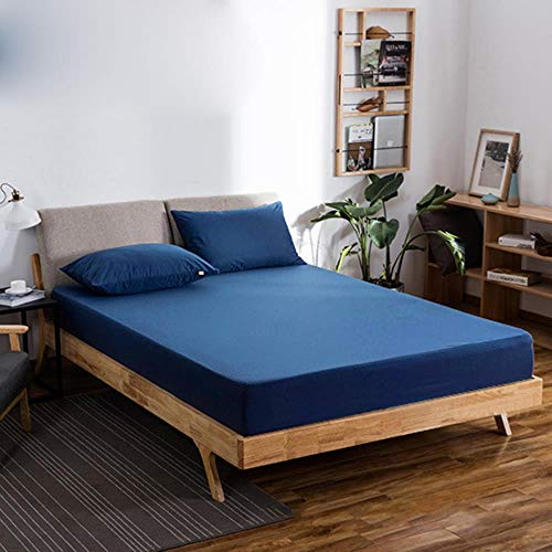 GHJYU Waterfood Fitted Bed sheets Polyester 7 colors bed mattress set bed sheet fitted with elastic twin bed drap housse full size,Dark Blue,80x190x30cm