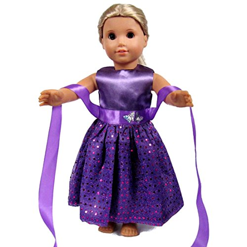 18 Inch Doll Clothes - Beautiful Purple Dress with Dots Outfit Fits 18' American Girl Dolls, My Life Doll, ZKB07