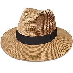 Maylisacc Panama Hut Herren Damen Sommer Fedora Strohhut Rollbar UV Sonnenhut,A-Khaki-FK,L