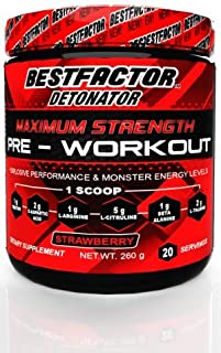 BESTFACTOR Detonator Preworkout Powder Energy Drink for Men & Women Weight Loss - Fat Burner. Increase Strength and get Explosive Performance. Maximum Pre Workout Energy Supplement for Top Results.