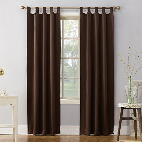 Sun Zero 51930 Easton Blackout Energy Effcient Tab Top Curtain Panel, 40' x 84', Chocolate Brown
