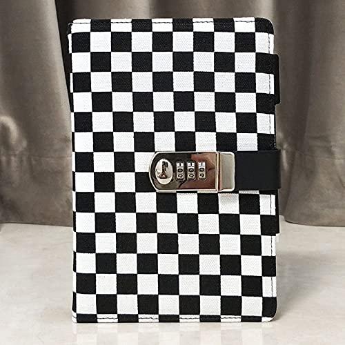 LIUCHEN cuadernoA5 Bloc de notas con contraseña de tela de diario con cerradura para cuaderno más grueso, cuadrícula en blanco y negro, A5