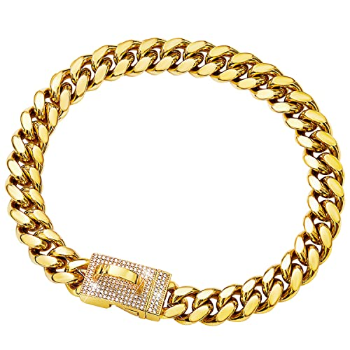 Gold Dog Chain Collar Metal Chain Collar with Cubic Zirconia Design Secure Buckle, 18K Cuban Link Chain Heavy Duty Chew Proof Walking Collar(14MM, 10')