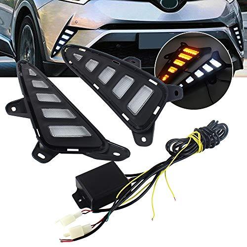 2 STÜCKE Auto DRL Tagfahrer Lichter mit gelbem Blinker Licht Gelb Tageslicht Nebelscheinwerfer für Toyota CHR C-HR 2017 2018
