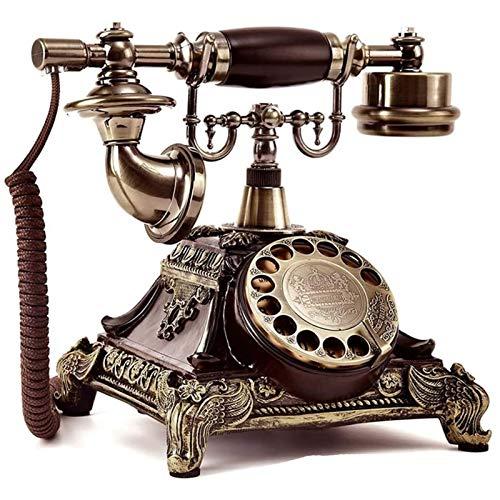 SQL Línea Fija Multifuncional Limitación de la Resina Imitación de Cobre Vintage Teléfono de línea Fija Dial Rotary Antiguo Teléfono con Cable para el hogar Decoración del Hotel