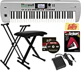 Korg i3 Music Workstation Bundle with Adjustable Stand, Bench, Sustain Pedal, Instructional Book, Austin Bazaar Instructional DVD, and Polishing Cloth - Matte Silver