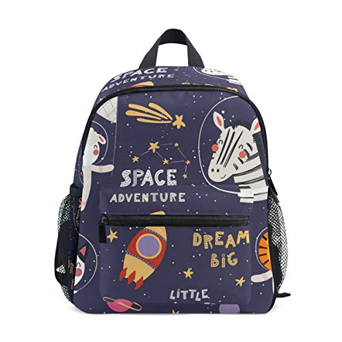 Cute Cute Funny Space Animal Astronauts Toddler Bag with Detachable Chest Clip Travel Bag Snack diapers Bag Preschool Backpack for Kids Little Boy Girls