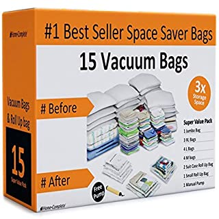 Home-Complete Vacuum Storage Bags- 15 Multi Size Space Saving Air Tight Compression Organizers for Closet Clutter, Clothes, Linens- Pump Included (B012KI8M22) | Amazon price tracker / tracking, Amazon price history charts, Amazon price watches, Amazon price drop alerts
