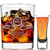 1951 70th Birthday Gifts For Men & Women 9 oz Whiskey Glass and 2 oz Shot Glass, 70th Birthday Decorations for Men, Funny Present Ideas for Her, Wife, Mom, Coworker, Best Friend, Anniversary Man Guys