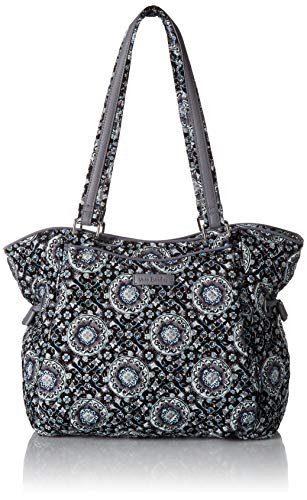 Vera Bradley Signature Cotton Glenna Satchel Purse, Charcoal Medallion