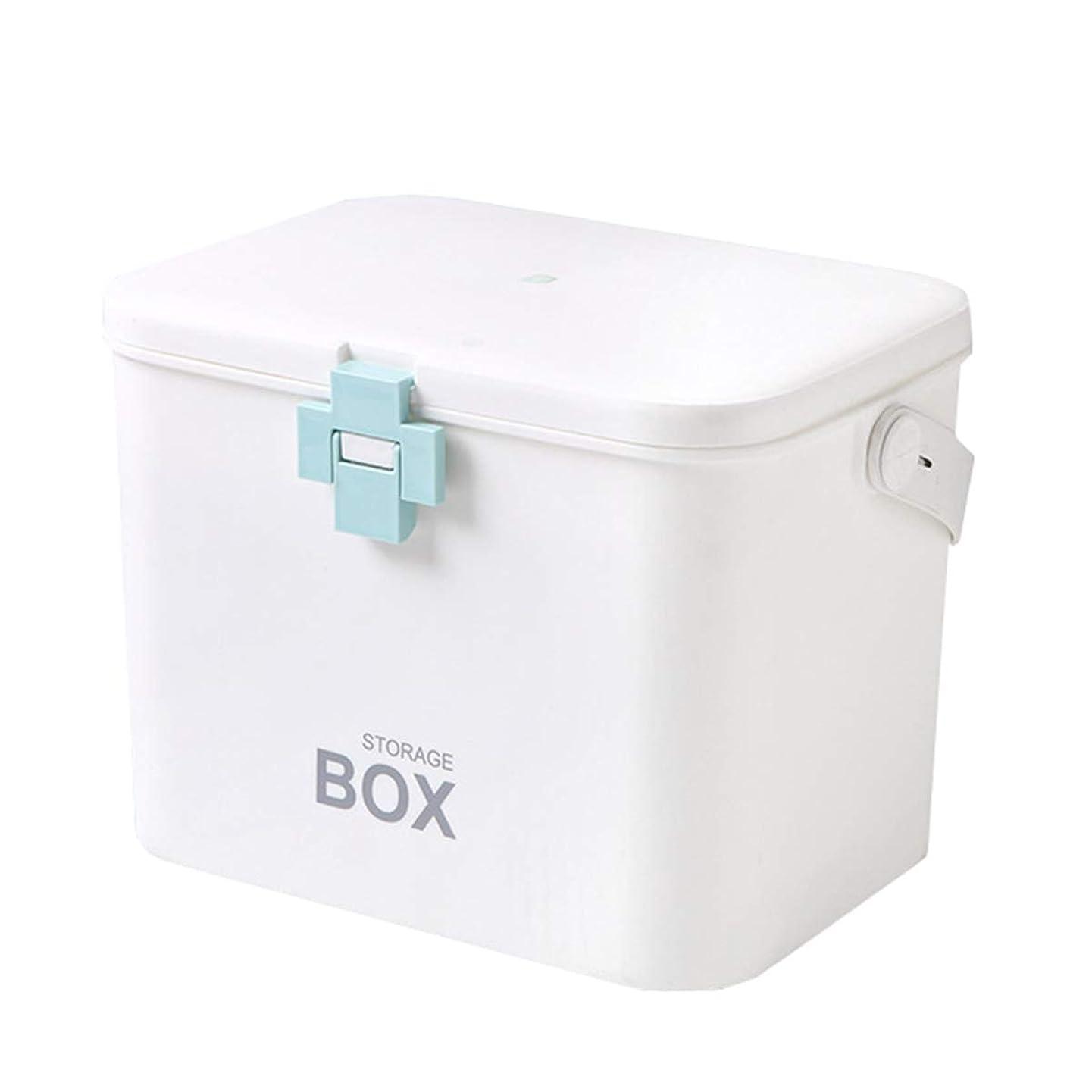 スポークスマン暴行まだら救急箱 応急処置 薬箱 救急ボックス 薬 くすり 収納 収納ボックス 大容量 収納箱 救急 応急手当 薬入れ 小物入れ 多機能 家庭用 ブルー 31cm*20cm*22cm