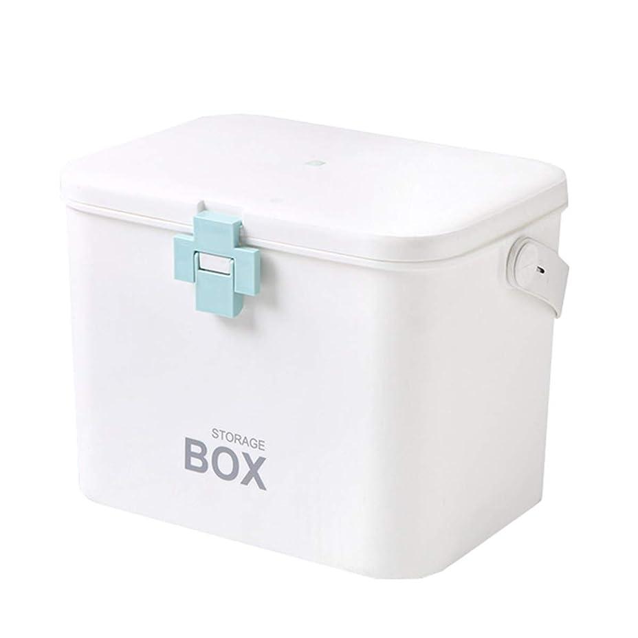 スロープレーザ鼓舞する救急箱 応急処置 薬箱 救急ボックス 薬 くすり 収納 収納ボックス 大容量 収納箱 救急 応急手当 薬入れ 小物入れ 多機能 家庭用 ブルー 31cm*20cm*22cm