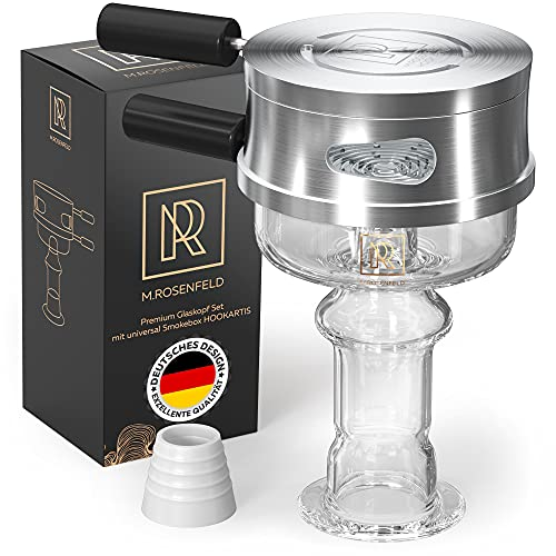 M. ROSENFELD Glaskopf Shisha Set – Shisha Kopf Set, Phunnel Kopf mit Smokebox HOOKARTIS mit einzigartigem Multi-Ring-Boden - passt für alle gängigen Köpfe Designed in Germany