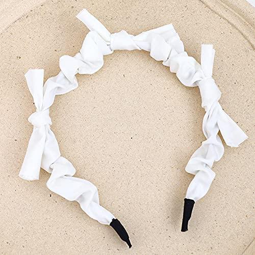 XINDUO De Moda de Cristal Brillante Diademas,Diadema con Arrugas de satén Dulce-Blanco,Turban Diadema Moda Elástica