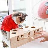 Lemonda 猫おもちゃ クリスマスギフト モグラ叩きもぐら 猫じゃらし 5穴の設計 興味アップアップ モグラ叩き 木製 噛むおもちゃ 猫遊び 知育玩具 運動不足 ストレス解消 ペット用品 お誕生日 バースデー プレゼント