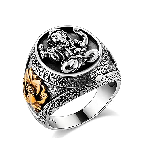 ZiFei Rings,Buddha Elephant Lucky Ring with Lotus Solid Authentic 925 Sterling Silver Rings for Unisex Vintage Punk Jewelry,8