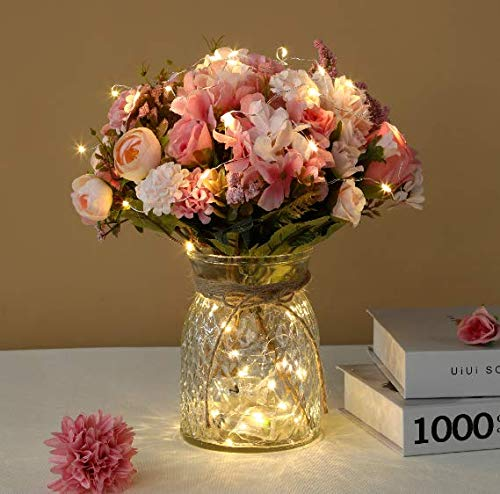 Artificial LED Pink Rose Flowers with Glass Vase, Flower Arrangement for Table Centerpiece, Home Office Wedding Decoration