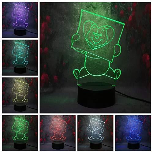Klsoo Veilleuses Dessin Animé Mignon Winnie L'Ourson 3D Night Light Led Illusion De Couleur Enfants Enfants Night Light Cadeau D'Anniversaire Chambre Table Bureau Lampe
