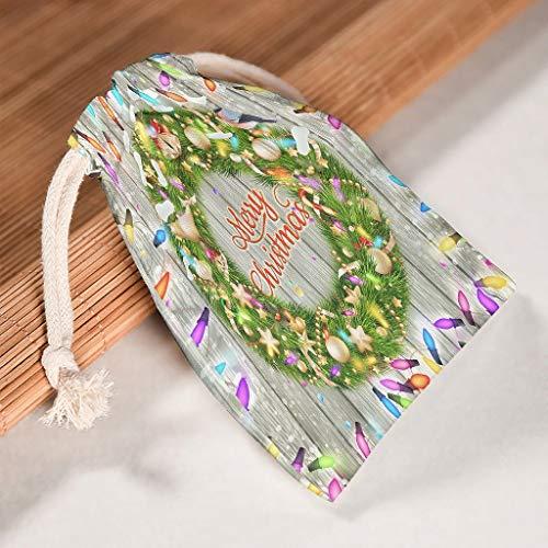 Lind88 6 Stück Weihnachtskranz-Organisationstaschen mit Kordelzug, langlebige Süßigkeitenbeutel, geeignet für Weihnachten, Geburtstag, Geschenke – glänzende Muster bedruckt, weiß (Weiß) - Lind88-STB