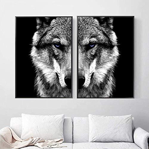 Paredes de arte 2 piezas 20x30cm sin marco Cuadro de arte de pared Animal salvaje Cabeza de lobo Póster Estilo nórdico Negro Blanco Pintura de la lona Impresión Decoración de la habitación del hogar