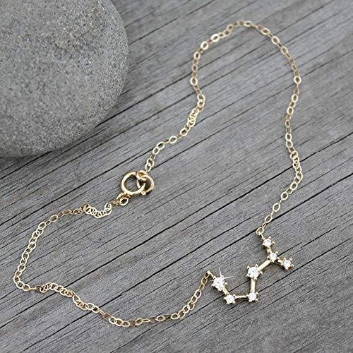 LIUL Horóscopo Tobillera Pulsera Signo del Zodiaco Tobilleras para Mujer Colgante de Oro astrología 12 constelación Regalo de niña, Tauro, Oro