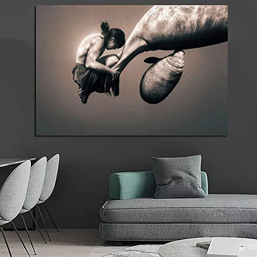 QWESFX Große Größe ein Mann Umarmung Natur Kunst Leinwand Malerei Wandbild für Wohnzimmer Fotodruck Wohnkultur (Druck ohne Rahmen) E 60x120CM