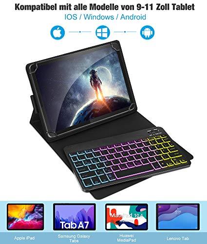 ELTD Beleuchtete Tastatur für Alle 9-11 Zoll Tablet (Deutsches QWERTZ), Tastatur mit Beleuchtete für Android/Windows Tablets/iPad, Schwarz