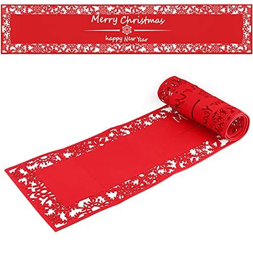 Camino de mesa de fieltro navideño,180x35cm Camino de mesa con copo de...