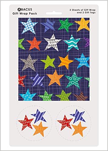 Abacus 03465A - Paquete de papel de regalo con 2 hojas y etiquetas de cuerda