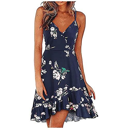 N\P Vestido sin mangas para mujer con correa de verano, estampado floral bohemio, gris, M