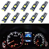 WLJH 10x LED Bulbs 3030SMD T5 Error Free Very Bright 37 58 70 73 74 White for Car...