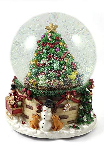 Creation Gross Schneekugel/Spieluhr 150mm, Weihnachtsbaum, Schneeantrieb, Licht, zum Aufz, 20cm (0900030)