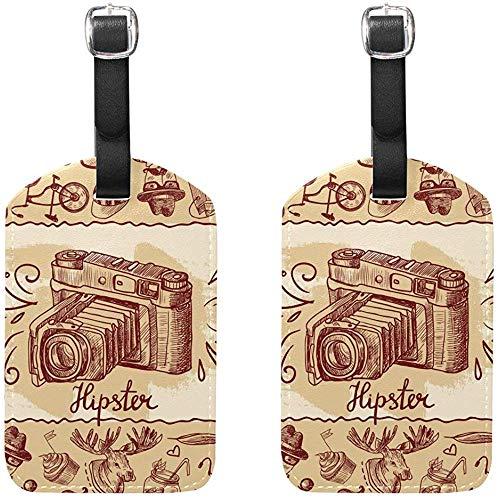 Hipster Kamera Gepäckanhänger Tasche Reiseetiketten für Gepäck Koffer 2PCS