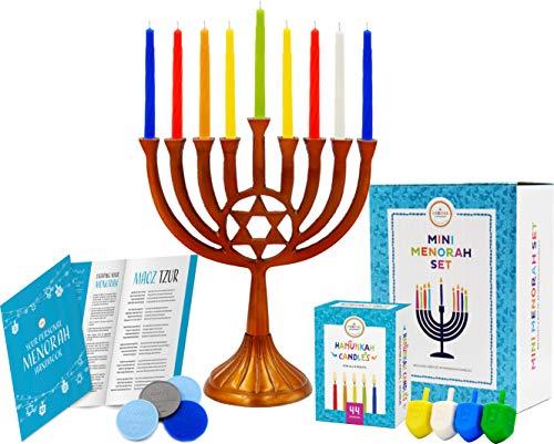 The Dreidel Company Mini Menorah Traditional Star Design, Includes Box 44 Elegant Colored Candles (Mini Menorah Star Copper Finish)