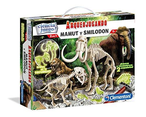 Clementoni- Arqueojugando Smilodon+mammouth Fluor, (550531)