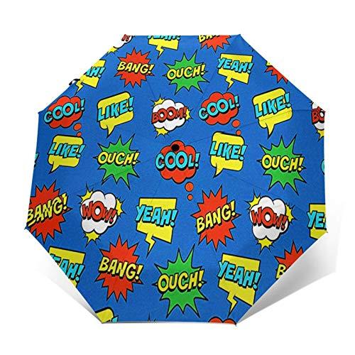 Regenschirm Taschenschirm Kompakter Falt-Regenschirm, Winddichter, Auf-Zu-Automatik, Verstärktes Dach, Ergonomischer Griff, Schirm-Tasche, Comic coole Sprechblasen