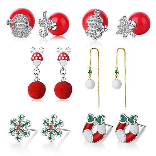 Stijlvolle eenvoud nieuwe bel sneeuwvlok elk kerstboom geschenkdoos fluweel zirkoon oorbellen creatief 925 sterling zilveren sieraden, DZ