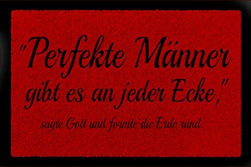 Interluxe FUSSMATTE Türmatte PERFEKTE MÄNNER Lustig Spruch Geschenk Fußabtreter 60x40 cm Rot