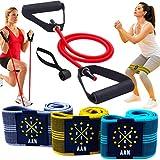 AAN 3 Fitnessbänder Stoff +1 Set Resistance Band Fitness mit Griffen, rutschfest, Workout für ganzkörper und Muskelaufbau. Fitnessband Booty Band Loop hip Bands Widerstandsbänder Sport bänder (4 Set)